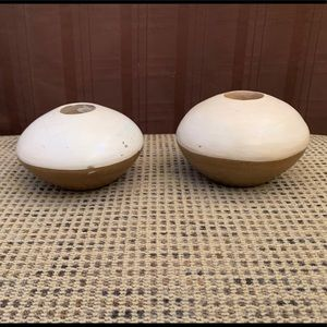 Set of Distressed Two Tone Candle Holders